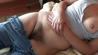 58 Year Old Latina Mom Showing Her Hairy Pussy, Cuckold Husband