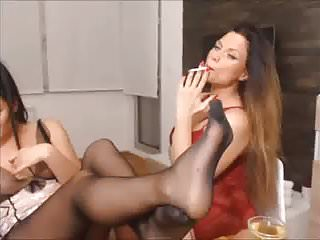 Nylons and dildo - Lesbian show in pantyhose and dildo