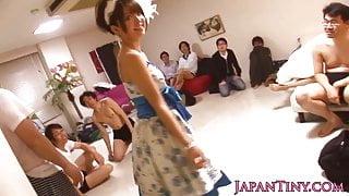 Bukkaked japanese babe spitroasted