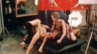 Shooting cinema turned to classic orgy