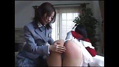 Asian Schoolgirl Spanks Horny Mom