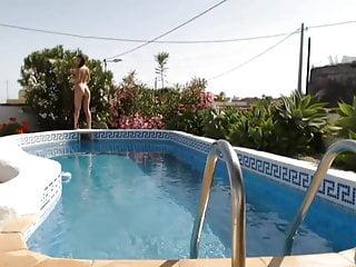 Dad saw me sunbathing naked Naked sunbathing by the pool