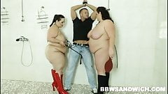 BBW threesome sex in the public shower with BDSM props
