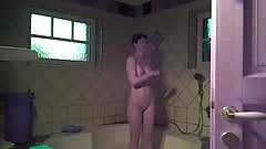 Hidden Cam. Short Hair Milf Takes a Shower