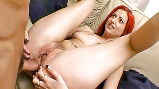 Clair grimaces as big cock enters her ass