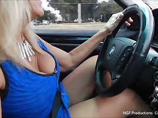 Woman with high sex drive Slut flashing big tits while driving