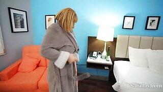 Sex Bomb Sara Jay Fucks The Hotel's Handyman And Gets Cum!