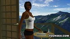 Foxy 3D Cartoon Ebony Babe Sucking and Fucking