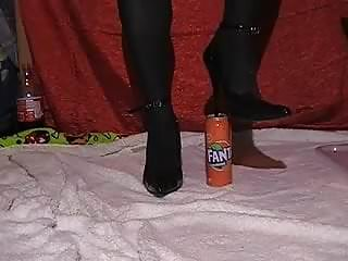 Crushing beer can with boob - Crush fanta can
