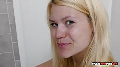 Blonde takes off her clothes and masturbates