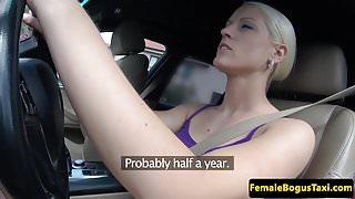 European female cabbie fucked on backseat