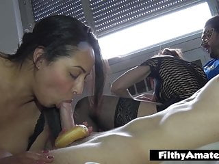 Donut on a dick - Two milf wife in a real homemade orgy with donuts and glans