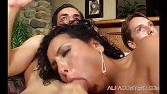 Hungry Latina getting  gangbanged by three hard dicks