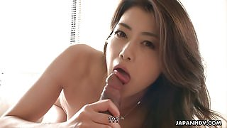 Slim Japanese wife sucks and rides hard shaft in POV