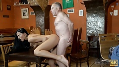 DADDY4K. Old man seduces his sons girlfriend for sex on