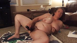 BBW step mom with hairy pussy, black vibrator and dirty talk
