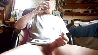Me Stroking my Cock and Sucking on a Dildo