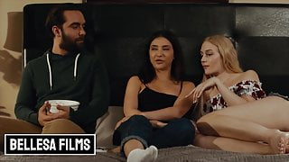 Small tit Bffs Jane Wilde and Emma Straletto share cock in mff