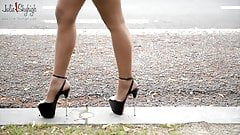 public flashing best hooker in spandex & most extreme heels