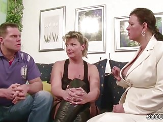 Sexy suprises for your husband Two german big tit milfs suprise his husband with 3some