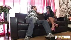 Raven-haired MILF teases and fucks her stepson
