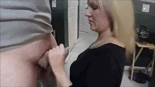 Wife sucks and strokes two cocks to facials