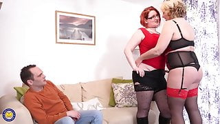 Mature busty mothers sharing so happy guy