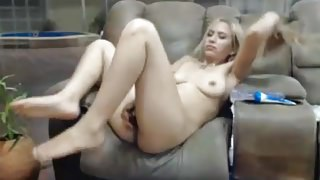 22yo blonde fucks eggplant 1
