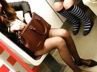 Subway orgasm videos - Candid sexy pantyhose women in subway 215
