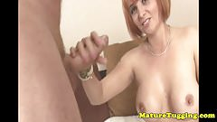 Bigtitted redhead stepmilf tugging on dick