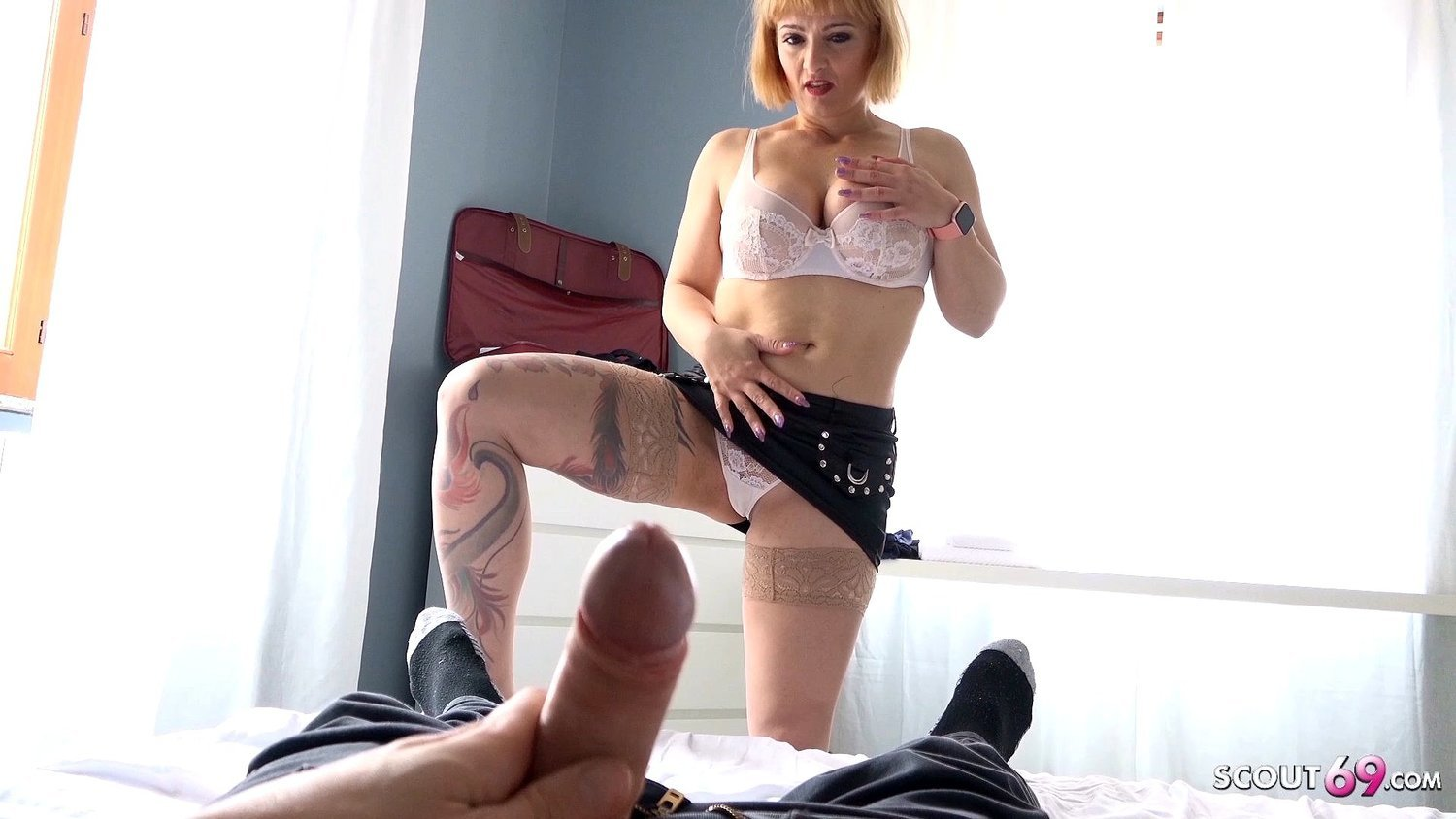 Big Tit Mom Gives Son Blowjob