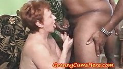 Granny Swallows load and then SUCKS out MY Anal Cream Pie