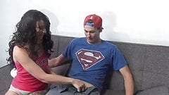 Young dude handjobed by gorgeous girl cums under the minute