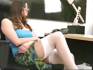 Sex with small cute - Cute brunette with small tits toys her pussy in the office
