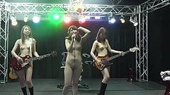 Japanese nude rock group singing