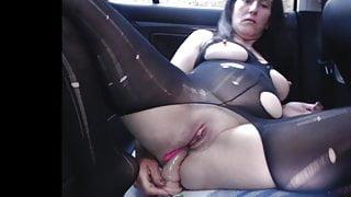 Anal loving step mum needed a break in her car