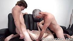 Hunky stepdad barebacks twink stepson and his gay lover