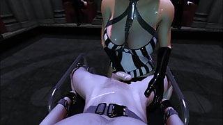 SFM VR 3D Latex Mistress Tessa milks slave through prostate