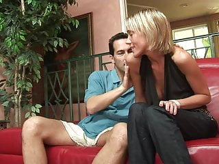 He licks jizz Busty blonde gives her man a titty fuck before he licks her