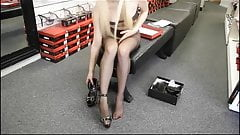 Black pantyhose in a shoe shop