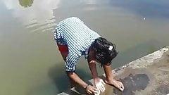 Bathing outdoor local girls Assam