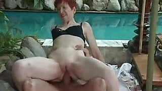 Granny's Ass Plunge By The Pool