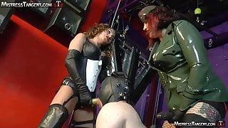 Femdom Mistresses unite for strap-on training of male slave