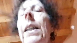 Horny granny sucks and rides Cowgirl