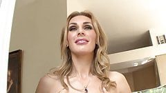 Blonde MILF gets her huge tits creamed after fucking young hunk