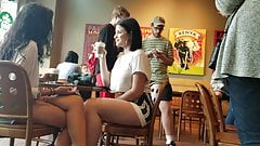 Skirt is too short, upskirt at Starbucks with face shot