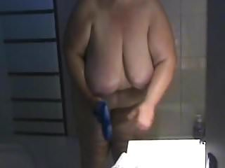 Enormous tits bbw Fat cellulitic wife with enormous tits showering hidden cam