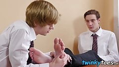 Blond twink sucks his school friends feet and takes raw cock