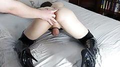 Crossdresser Robin reach orgasm while fingered