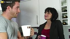 Hot British mother gets a fuck in her kitchen